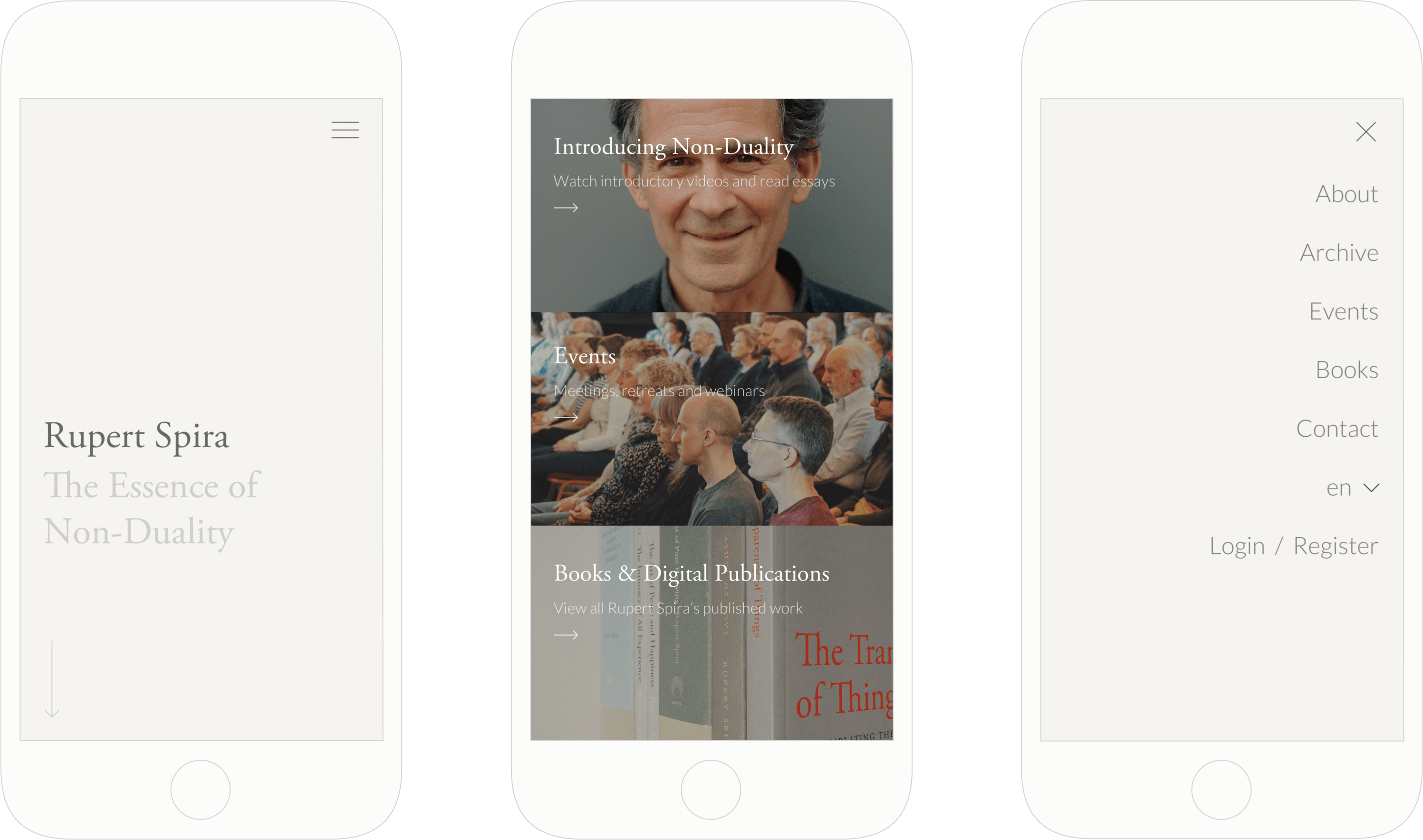 Responsive website for Non-Duality teacher, Rupert Spira